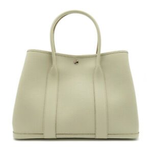 HERMES Garden party PM Tote Bag Y 2020 Negonda leather Gray Beton Used Women