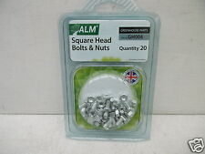 20 X ALM SQUARE HEAD GREENHOUSE BOLTS & NUTS GH004