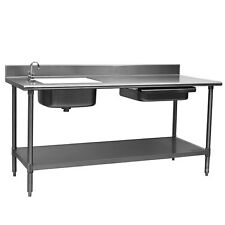 "Eagle Group Pt 3084 Spec-Master 84"" Stainless Prep Table w/ Sink & Drawer"