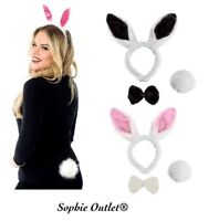 One Size Bunny Rabbit Set Ears Tail Bow Tie Fancy Dress Outfit Easter Headband