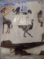 BEANSPROUT BABY BLANKET JUNGLE SAFARI CREAM BROWN ANIMALS LUXURY HIGH PILE NWT