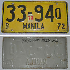 1972 Philippines MANILA LICENSE CAR PLATE # 33-94Q