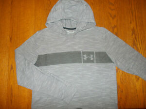 UNDER ARMOUR HEATHER GRAY FITTED LIGHTWEIGHT HOODIE MENS LARGE EXCELLENT COND.