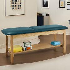 """Treatment Exam Table Wooden Full shelf Adj backrest 27"""" Slate Blue"""