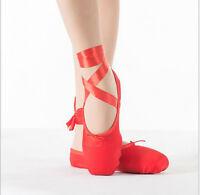 Women Ladies Satin Red Pink Professional Ballet Dance Toe Shoes Pointe Shoe Size