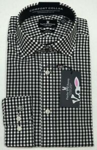 Orig $89 Psycho Bunny Long Sleeve Men Dress Shirt Black Plaid Modern Fit Stretch