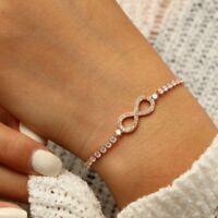Adjustable Heart Infinity Friendship Bridesmaid Bracelet Cubic Zircon Crystal