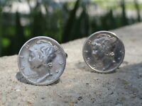 Mercury Dime Cufflinks -- Coin Sterling Silver Money American Jewelry