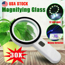 30X High Power Handheld Magnifying Glass Led Light Illuminated Magnifier US