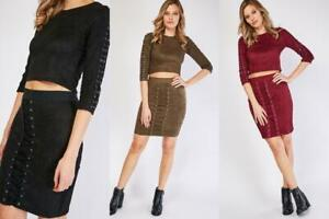 Ladies Black/Plum/Olive Suedette Laced Trim Top And Skirt Co-Ord.Size 8-10-10-12