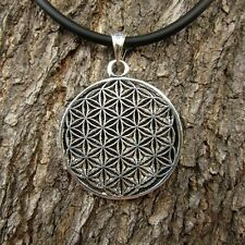 ae74 MEN FLOWER OF LIFE PENDANT HEXAGON JEWELRY PEWTER BIKER NECKLACE LADY FREE