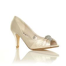 Ladies Bridal Shoes Satin Bridesmaid Mid Heel Occasion Prom Party Wedding Ivory Satin UK 6 EU 39