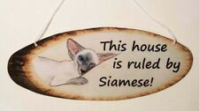 Siamese cat sign laminated card from original painting by Suzanne Le Good