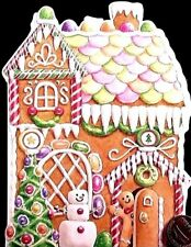 CAROL'S ROSE GARDEN Gingerbread Man House *EMBOSSED* Christmas Greeting Card NEW