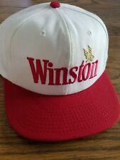 VINTAGE Winston Cigarette Snap Back Hat Cap White Red Lid Gold Eagle Logo