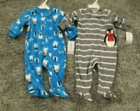 NEW Carter's Baby Boys 2 Piece Lot Footed Fleece Blanket Sleepers 3 Months NWT