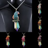 Retro Women Colorful Bird Parrot Long Chain Pendant Necklace Lady Jewelry Gift