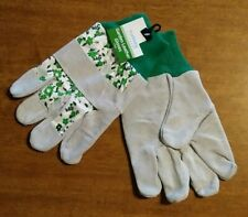 Gardening Gloves Leather Outdoor Lawn Yard Greenhouse Green Flowers New NWT