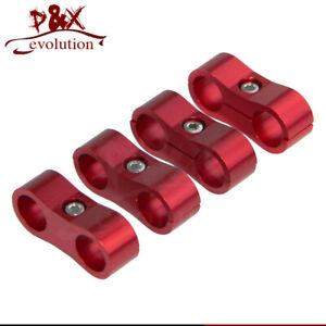 4PCS 6AN Red Aluminum Hose Clamps 13MM ID For 3/8 Braided Fuel Hose