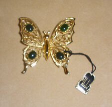 Large Gold Tone Butterfly Pin by Hobe' Jewelry w Jade Accents New with Hang Tag
