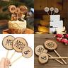 3pcs Mr & Mrs Wedding Wooden Cake Topper Stick Wood Decor Anniversary Rustic