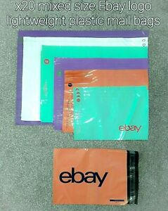 20 x Ebay Brand Plastic Lightweight Coloured Mailers Mailing Bags Set - 6 sizes