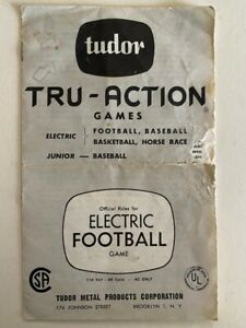 Tudor Tru-Action Games Instruction Booklet 1950's Electric Football, Brooklyn NY