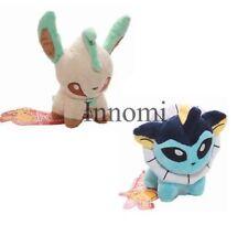 2 Pcs Set Pokemon Vaporeon and Leafeon Plush Stuffed Animal Doll Toy