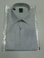 NEW IKE BEHAR Dress Shirt Blue Yellow White Striped Sz 151/2 34-35 $135