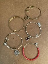 Girl, Red Bead, Purple Crystal, Plain #4 Alex And Ani Lot Of 5 Bracelets Crown,