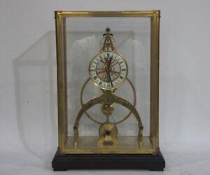 Europe Retro Bronze Copper Glass Pottery Mechanical Remontoir Swing Table Clock