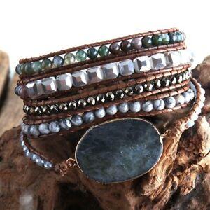 Handmade Natural Stone Labradorite Map Stone & Agate Beaded Wrap Bracelet Cuff