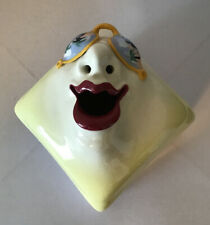 Signed Ceramic Funky Tissue Box in the Shape of Womans Face w/ Red Lipstick