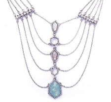 BLUE OPAL PINK LAYER CHAIN SILVER ART DECO Victorian Crystal Rhinestone Necklace