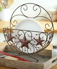 Barn Stars and Berries Plate Holder Upright Basket Stand Scrolled Metal Brown
