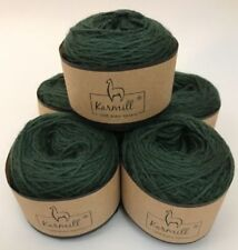 Alpaca Wool Skeins 100% Baby Alpaca Yarn Lot of 5 Green Color CA315