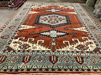 10x14 NEW HANDMADE WOOL RUG HAND-KNOTTED ORIENTAL geometric handwoven big carpet