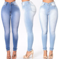 Women's High Waisted Solid Skinny Jeans Pencil Stretch Denim Long Pants Trousers