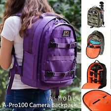 Purple DSLR Camera Bag Backpack Waterproof Nylon Oxford amode
