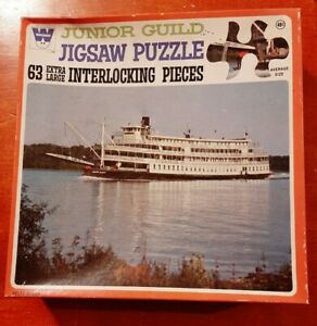 """Vintage New Sealed box Whitman Junior Guild Jigsaw Puzzle, """"Delta Queen"""""""