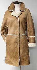 BOD & CHRISTENSEN STUNNING BEIGE LEATHER SHEARLING HIP LENGTH JACKET COAT SZ 8