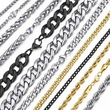 Men Stainless Steel Necklace Women Curb Cuban Link Chain Necklaces Punk Chokers