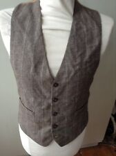 Mens Ww2 40's Style Check Waistcoat Tweed For 36 38 Chest
