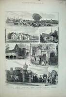Old Antique Print 1881 Bayham Abbey Eridge Castle Church Tunbridge Wells 19th