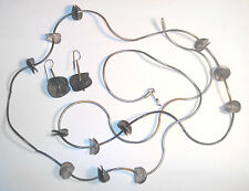 "HAND WROUGHT Sterling 925 MARCIN ZAREMSKI Modernist 48"" NECKLACE/Earrings SET"