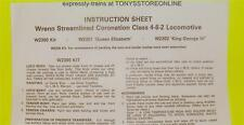 wrenn/hornby dublo oo spares 1x coronation loco original instruction sheet