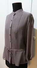 *Immaculate Size 12 Witchery Brown Silk Voille Blouse- 51cm Bust