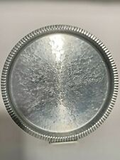 """Vintage The Beauty Line Designed Hammered Aluminum Round Serving Tray 11.25"""""""