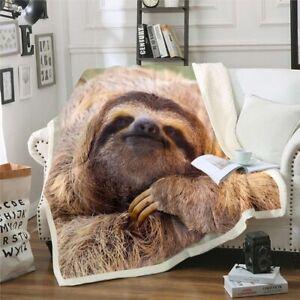 Animal Sloth 3D Print Sherpa Blanket Throw Sofa Bed Warm Fleece Single Double