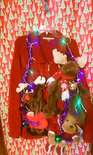"""REINDEER  """" UGLY """" Tacky Christmas SWEATER 2X-LARGE LIGHTS WOMENS L@@K"""